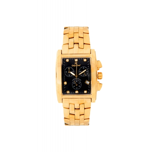 Rodez Gold Dress watch with Black Diamond Dial