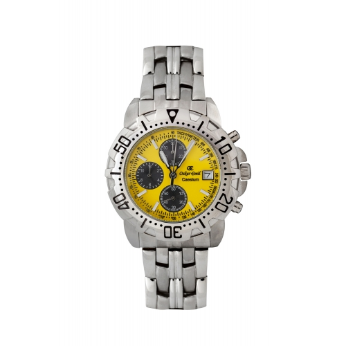 Caesium - 1119G - Gents, stainless steel, yellow dial