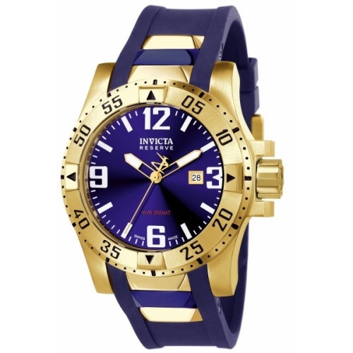 INVICTA Excursion Men 49.5mm Stainless Steel + Gold Plated Gold Blue dial 515 Quartz