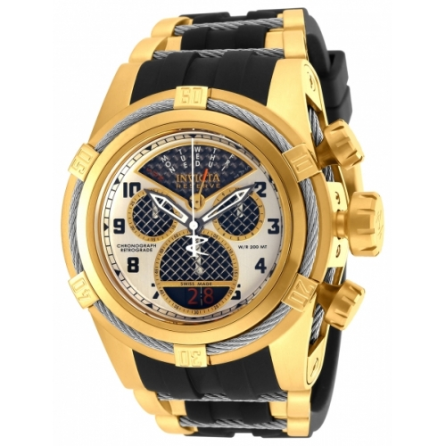 INVICTA Bolt Men 53mm Stainless Steel Gold + Stainless Steel Black+Antique Silver dial 8040.N Quartz