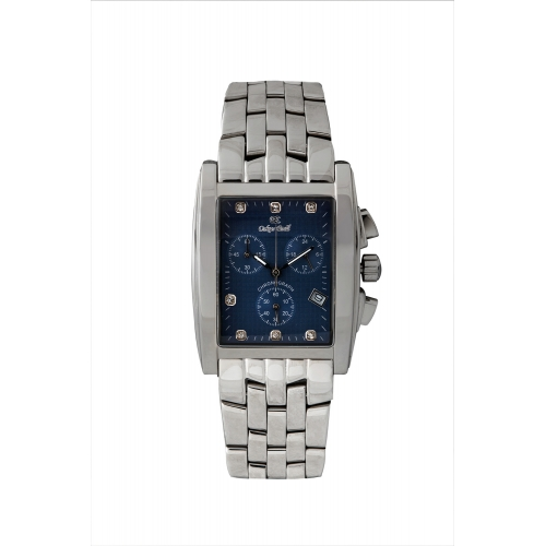 Rodez Stainless Steel Dress Watch with Blue Diamond Dial