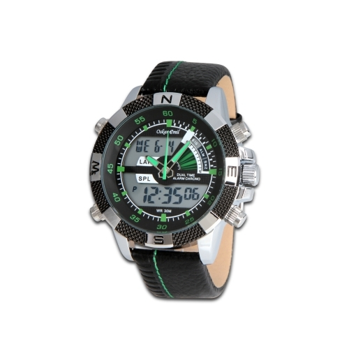 Ranger - Stainless steel with leather strap and green hands