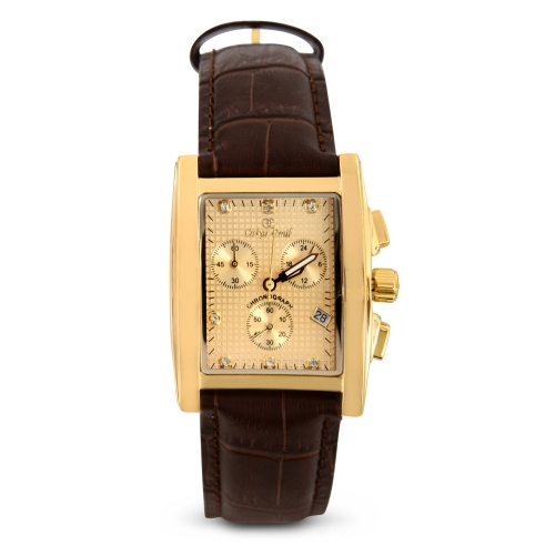 RODEZ DRESS WATCH WITH GOLD DIAL CHRONOGRAPH DISPLAY